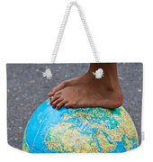Young Woman Standing On Globe Weekender Tote Bag by Garry Gay