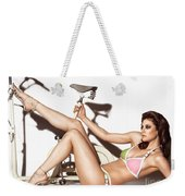 Young Woman Wearing A Swimsuit Weekender Tote Bag