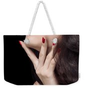 Young Woman With Red Lipstick Sensual Closeup Of Mouth Weekender Tote Bag