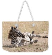 Zebra Foal Rolls In Dust On Savannah Weekender Tote Bag