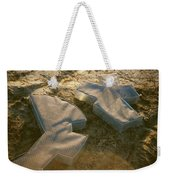Zinc Sculptures On The Beach At Sunset Weekender Tote Bag