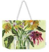Zinnias In Vase Weekender Tote Bag