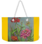 Zinnias With Bee Weekender Tote Bag