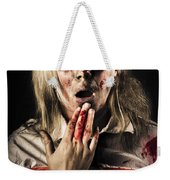 Zombie Woman Expressing Fear And Shock When Waking Weekender Tote Bag