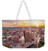 Aerial Panorama Of Providence, Rhode Island Weekender Tote Bag by Mihai Andritoiu