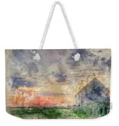 Digital Watercolor Painting Of Old Barn In Landscape At Sunset Weekender Tote Bag