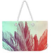 Duotone Background Of Tropical Palm Leaves Weekender Tote Bag