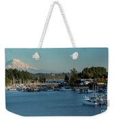 Gig Harbor Marina With Mount Rainier In The Background Weekender Tote Bag