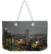 Mostly Black And White Tokyo Skyline At Night With Vibrant Selective Colors Weekender Tote Bag