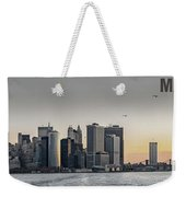 Panoramic View Of Manhattan Island And The Brooklyn Bridge At Su Weekender Tote Bag
