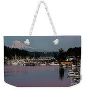Pink Purple Glow Over Mount Rainier And Gig Harbor Marina After Sunset Weekender Tote Bag