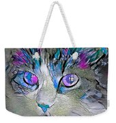 Purple Stained Glass Kitty Weekender Tote Bag by Don Northup