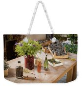Rustic Wooden Table With Various Herbs And Flowers Weekender Tote Bag