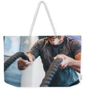 Senior Man Exercising With Ropes At The Gym. Weekender Tote Bag