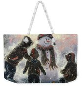 Snowman And Three Boys Weekender Tote Bag