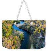Springtime On The Manistee River Aerial Weekender Tote Bag