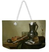 Still Life With Tobacco  Wine And A Pocket Watch  Weekender Tote Bag