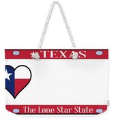 Texas State License Plate Weekender Tote Bag