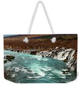 The Beautiful Cascades Of Hraunfossar In Iceland. Weekender Tote Bag