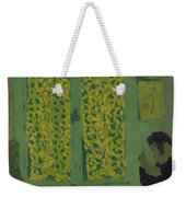 The Green Interior  Figure Seated By A Curtained Window   Weekender Tote Bag
