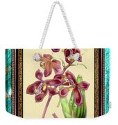 Vintage Orchid Antique Design Marble Caribbean-blue Weekender Tote Bag