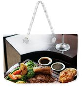 Sunday Roast Beef Traditional British Meal Set On Table Weekender Tote Bag