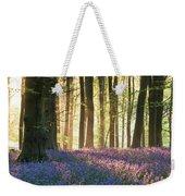 Stunning Bluebell Forest Landscape Image In Soft Sunlight In Spr Weekender Tote Bag
