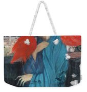 Young Woman With Ibis  Weekender Tote Bag