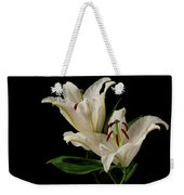 White Lily On Black. Weekender Tote Bag