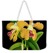 Vintage Orchid Print On Black Paperboard Weekender Tote Bag