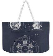 1896 Tesla Alternating Motor Blackboard Patent Print Weekender Tote Bag