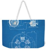 1896 Tesla Alternating Motor Blueprint Patent Print Weekender Tote Bag