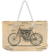 1901 Stratton Motorcycle Antique Paper Patent Print Weekender Tote Bag