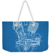 1914 Spacke V Twin Motorcycle Engine Blueprint Patent Print Weekender Tote Bag