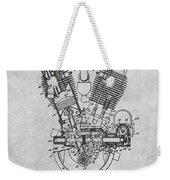 1914 Spacke V Twin Motorcycle Engine Gray Patent Print Weekender Tote Bag