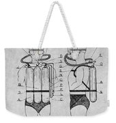 1947 Jacques Cousteau Diving Suit Patent Print Gray Weekender Tote Bag