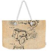 1952 3 Three Wheel Motorcycle Antique Paper Patent Print Weekender Tote Bag