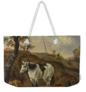 A White Horse Standing By A Sleeping Man  Weekender Tote Bag