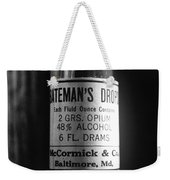 Antique Mccormick And Co Baltimore Md Bateman's Drops Opium Bottle Label - Black And White Weekender Tote Bag