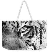 Black And White Half Faced Tiger Weekender Tote Bag