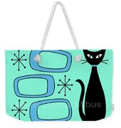 Cat With Mid Century Modern Oblongs Weekender Tote Bag by Donna Mibus