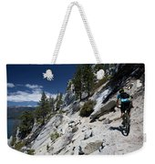 Cyclist On Mountain Road, Lake Tahoe Weekender Tote Bag