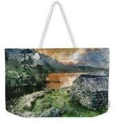 Digital Watercolor Painting Of Panorama Landscape Stunning Sunri Weekender Tote Bag