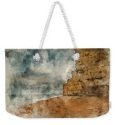 Digital Watercolour Painting Of Beautiful Vibrant Sunset Landsca Weekender Tote Bag