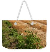 Field With Brown Cut Flax In Rows Drying In The Sun Weekender Tote Bag