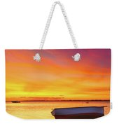 Fishing Boat At Sunset Time Weekender Tote Bag