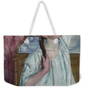 Girl Arranging Her Hair   Weekender Tote Bag