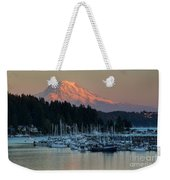 Sunset At Gig Harbor Marina With Mount Rainier In The Background Weekender Tote Bag
