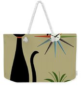Tabletop Cat With Starburst Clock Weekender Tote Bag by Donna Mibus