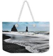 The Dramatic Black Sand Beach Of Reynisfjara. Weekender Tote Bag